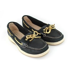 Sperry Angelfish Dash Black Boat Shoe, Size 9M